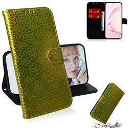 Laser Circle Shining Leather Wallet Phone Case for Samsung Galaxy Note 10 Lite - Golden