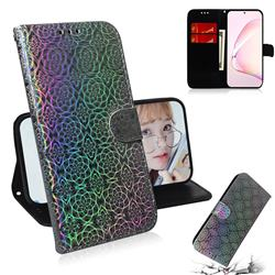Laser Circle Shining Leather Wallet Phone Case for Samsung Galaxy Note 10 Lite - Silver