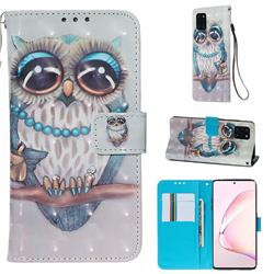 Sweet Gray Owl 3D Painted Leather Wallet Case for Samsung Galaxy Note 10 Lite