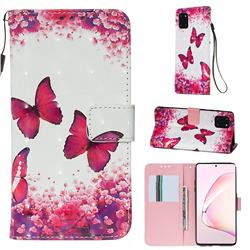 Rose Butterfly 3D Painted Leather Wallet Case for Samsung Galaxy Note 10 Lite