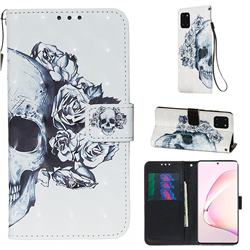 Skull Flower 3D Painted Leather Wallet Case for Samsung Galaxy Note 10 Lite