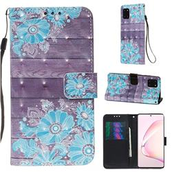 Blue Flower 3D Painted Leather Wallet Case for Samsung Galaxy Note 10 Lite