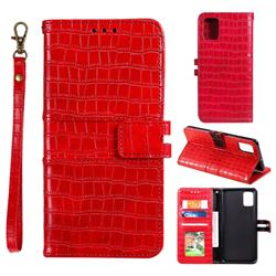 Luxury Crocodile Magnetic Leather Wallet Phone Case for Samsung Galaxy Note 10 Lite - Red