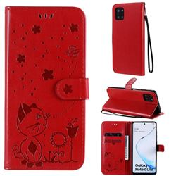 Embossing Bee and Cat Leather Wallet Case for Samsung Galaxy Note 10 Lite - Red