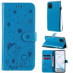 Embossing Bee and Cat Leather Wallet Case for Samsung Galaxy Note 10 Lite - Blue