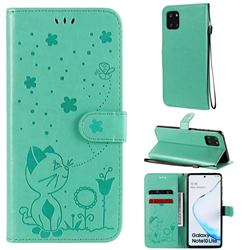 Embossing Bee and Cat Leather Wallet Case for Samsung Galaxy Note 10 Lite - Green