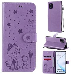 Embossing Bee and Cat Leather Wallet Case for Samsung Galaxy Note 10 Lite - Purple