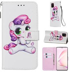 Playful Pony Matte Leather Wallet Phone Case for Samsung Galaxy Note 10 Lite
