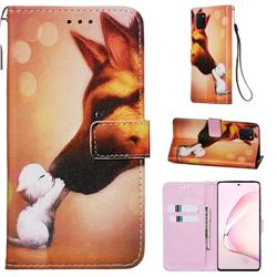 Hound Kiss Matte Leather Wallet Phone Case for Samsung Galaxy Note 10 Lite
