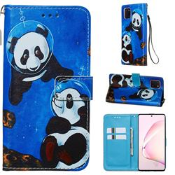 Undersea Panda Matte Leather Wallet Phone Case for Samsung Galaxy Note 10 Lite