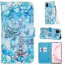 Tower Butterfly Matte Leather Wallet Phone Case for Samsung Galaxy Note 10 Lite
