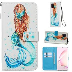 Mermaid Matte Leather Wallet Phone Case for Samsung Galaxy Note 10 Lite