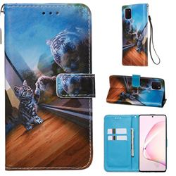 Mirror Cat Matte Leather Wallet Phone Case for Samsung Galaxy Note 10 Lite