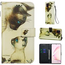 Cat Confrontation Matte Leather Wallet Phone Case for Samsung Galaxy Note 10 Lite