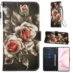 Black Rose Matte Leather Wallet Phone Case for Samsung Galaxy Note 10 Lite