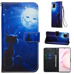 Cat and Moon Matte Leather Wallet Phone Case for Samsung Galaxy Note 10 Lite