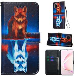 Water Fox Matte Leather Wallet Phone Case for Samsung Galaxy Note 10 Lite