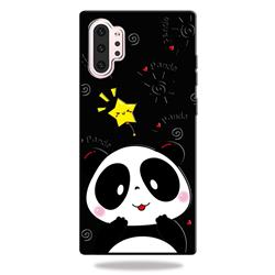 Cute Bear 3D Embossed Relief Black TPU Cell Phone Back Cover for Samsung Galaxy Note 10+ (6.75 inch) / Note10 Plus