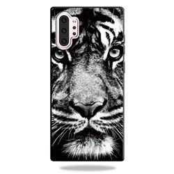 White Tiger 3D Embossed Relief Black TPU Cell Phone Back Cover for Samsung Galaxy Note 10+ (6.75 inch) / Note10 Plus
