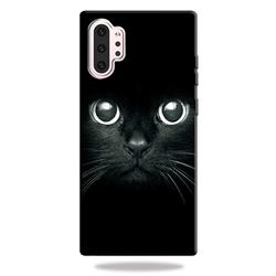 Bearded Feline 3D Embossed Relief Black TPU Cell Phone Back Cover for Samsung Galaxy Note 10 Pro (6.75 inch) / Note 10+