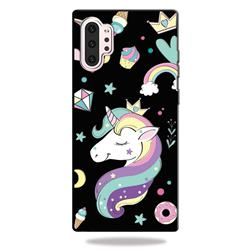 Candy Unicorn 3D Embossed Relief Black TPU Cell Phone Back Cover for Samsung Galaxy Note 10+ (6.75 inch) / Note10 Plus
