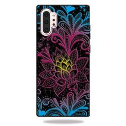 Colorful Lace 3D Embossed Relief Black TPU Cell Phone Back Cover for Samsung Galaxy Note 10+ (6.75 inch) / Note10 Plus