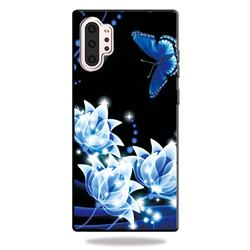 Blue Butterfly 3D Embossed Relief Black TPU Cell Phone Back Cover for Samsung Galaxy Note 10+ (6.75 inch) / Note10 Plus