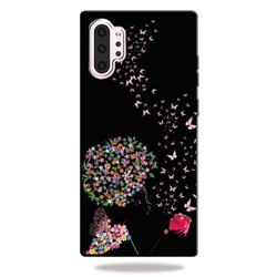 Corolla Girl 3D Embossed Relief Black TPU Cell Phone Back Cover for Samsung Galaxy Note 10+ (6.75 inch) / Note10 Plus