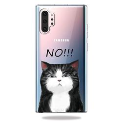Cat Say No Clear Varnish Soft Phone Back Cover for Samsung Galaxy Note 10+ (6.75 inch) / Note10 Plus