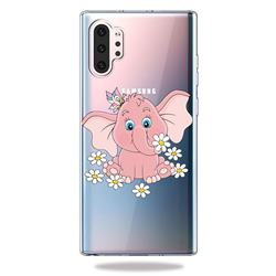 Tiny Pink Elephant Clear Varnish Soft Phone Back Cover for Samsung Galaxy Note 10+ (6.75 inch) / Note10 Plus