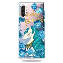 Blue Flower Unicorn Clear Varnish Soft Phone Back Cover for Samsung Galaxy Note 10+ (6.75 inch) / Note10 Plus