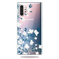 Magnolia Flower Clear Varnish Soft Phone Back Cover for Samsung Galaxy Note 10+ (6.75 inch) / Note10 Plus