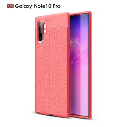 Luxury Auto Focus Litchi Texture Silicone TPU Back Cover for Samsung Galaxy Note 10+ (6.75 inch) / Note10 Plus - Red