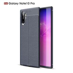 Luxury Auto Focus Litchi Texture Silicone TPU Back Cover for Samsung Galaxy Note 10+ (6.75 inch) / Note10 Plus - Dark Blue