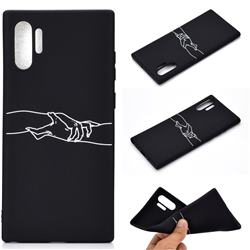 Handshake Chalk Drawing Matte Black TPU Phone Cover for Samsung Galaxy Note 10+ (6.75 inch) / Note10 Plus