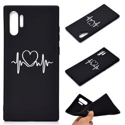 Heart Radio Wave Chalk Drawing Matte Black TPU Phone Cover for Samsung Galaxy Note 10+ (6.75 inch) / Note10 Plus
