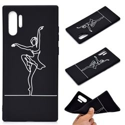 Dancer Chalk Drawing Matte Black TPU Phone Cover for Samsung Galaxy Note 10+ (6.75 inch) / Note10 Plus