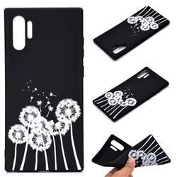 Dandelion Chalk Drawing Matte Black TPU Phone Cover for Samsung Galaxy Note 10+ (6.75 inch) / Note10 Plus