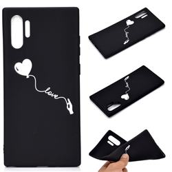 Heart Balloon Chalk Drawing Matte Black TPU Phone Cover for Samsung Galaxy Note 10+ (6.75 inch) / Note10 Plus