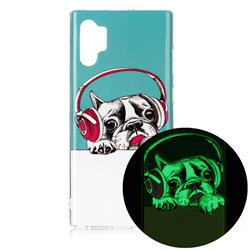 Headphone Puppy Noctilucent Soft TPU Back Cover for Samsung Galaxy Note 10+ (6.75 inch) / Note10 Plus