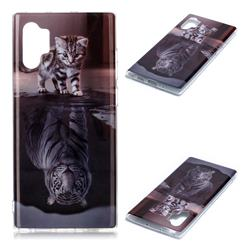 Cat and Tiger Soft TPU Cell Phone Back Cover for Samsung Galaxy Note 10+ (6.75 inch) / Note10 Plus
