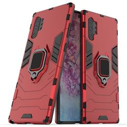 Black Panther Armor Metal Ring Grip Shockproof Dual Layer Rugged Hard Cover for Samsung Galaxy Note 10 Pro (6.75 inch) / Note 10+ - Red