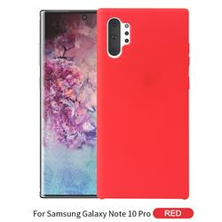Howmak Slim Liquid Silicone Rubber Shockproof Phone Case Cover for Samsung Galaxy Note 10 Pro (6.75 inch) / Note 10+ - Red