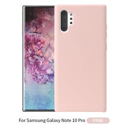 Howmak Slim Liquid Silicone Rubber Shockproof Phone Case Cover for Samsung Galaxy Note 10+ (6.75 inch) / Note10 Plus - Pink