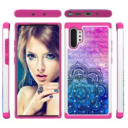 Colored Mandala Studded Rhinestone Bling Diamond Shock Absorbing Hybrid Defender Rugged Phone Case Cover for Samsung Galaxy Note 10+ (6.75 inch) / Note10 Plus