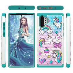 Fashion Unicorn Studded Rhinestone Bling Diamond Shock Absorbing Hybrid Defender Rugged Phone Case Cover for Samsung Galaxy Note 10+ (6.75 inch) / Note10 Plus