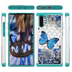 Flower Butterfly Studded Rhinestone Bling Diamond Shock Absorbing Hybrid Defender Rugged Phone Case Cover for Samsung Galaxy Note 10+ (6.75 inch) / Note10 Plus
