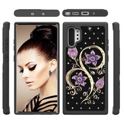 Peacock Flower Studded Rhinestone Bling Diamond Shock Absorbing Hybrid Defender Rugged Phone Case Cover for Samsung Galaxy Note 10+ (6.75 inch) / Note10 Plus