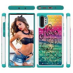 Colorful Dream Catcher Studded Rhinestone Bling Diamond Shock Absorbing Hybrid Defender Rugged Phone Case Cover for Samsung Galaxy Note 10+ (6.75 inch) / Note10 Plus