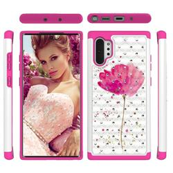 Watercolor Studded Rhinestone Bling Diamond Shock Absorbing Hybrid Defender Rugged Phone Case Cover for Samsung Galaxy Note 10+ (6.75 inch) / Note10 Plus